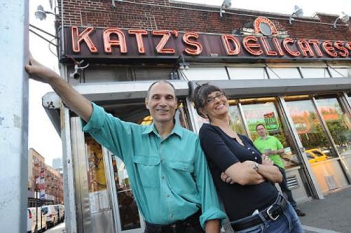 Jen Senko and Fiore Derosa, directors of the new documentary called Vanishing City, pose outside of Katz's Deli on Houston Street.