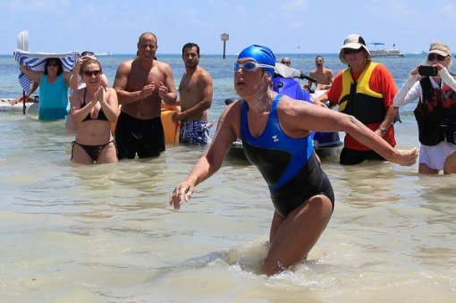 Andrew Innerarity/Reuters Spectators surrounded Ms. Nyad as she reached the shore of Key West, Fla. By THE ASSOCIATED PRESS Published: September 2, 2013 at 3:08 PM ET