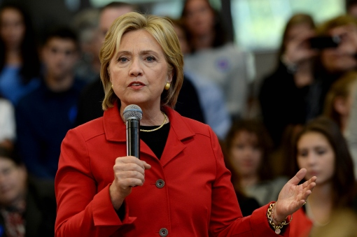 MANCHESTER, NH - OCTOBER 5: Democratic Presidential candidate Hillary Clinton speaks at a town hall event at Manchester Community College October 5, 2015 in Manchester, New Hampshire. Clinton discussed proposals to address gun violence in the United States. (Photo by Darren McCollester/Getty Images)